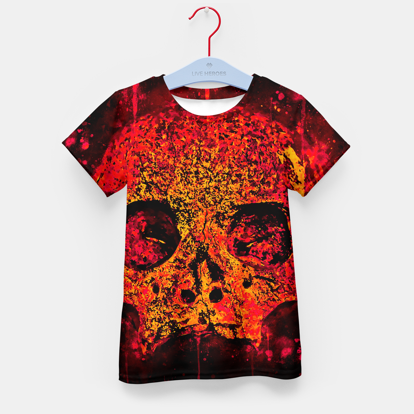 Image of gxp skull on gravestone splatter watercolor red edgy ember Kid's t-shirt - Live Heroes