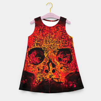 Thumbnail image of gxp skull on gravestone splatter watercolor red edgy ember Girl's summer dress, Live Heroes