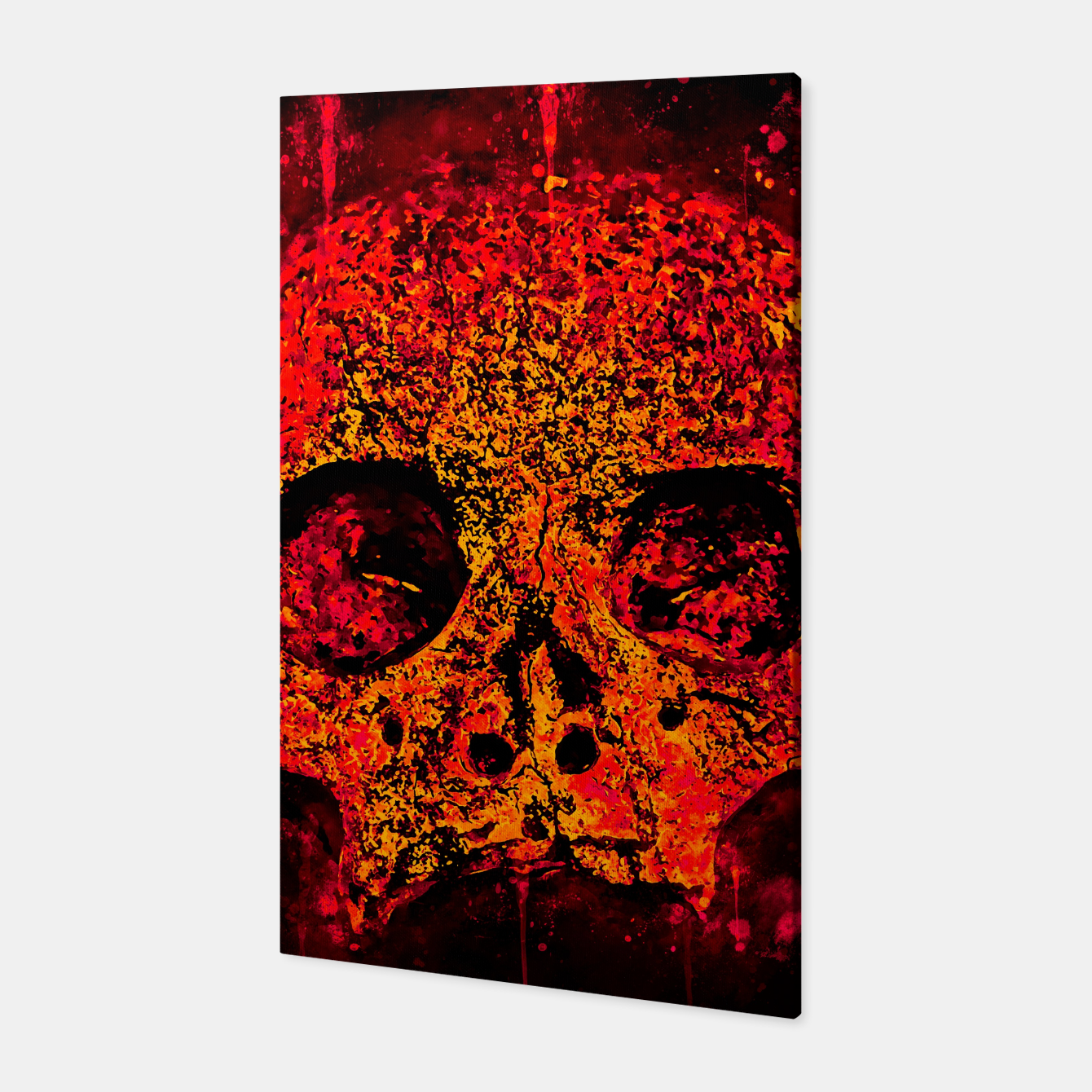 Image of gxp skull on gravestone splatter watercolor red edgy ember Canvas - Live Heroes