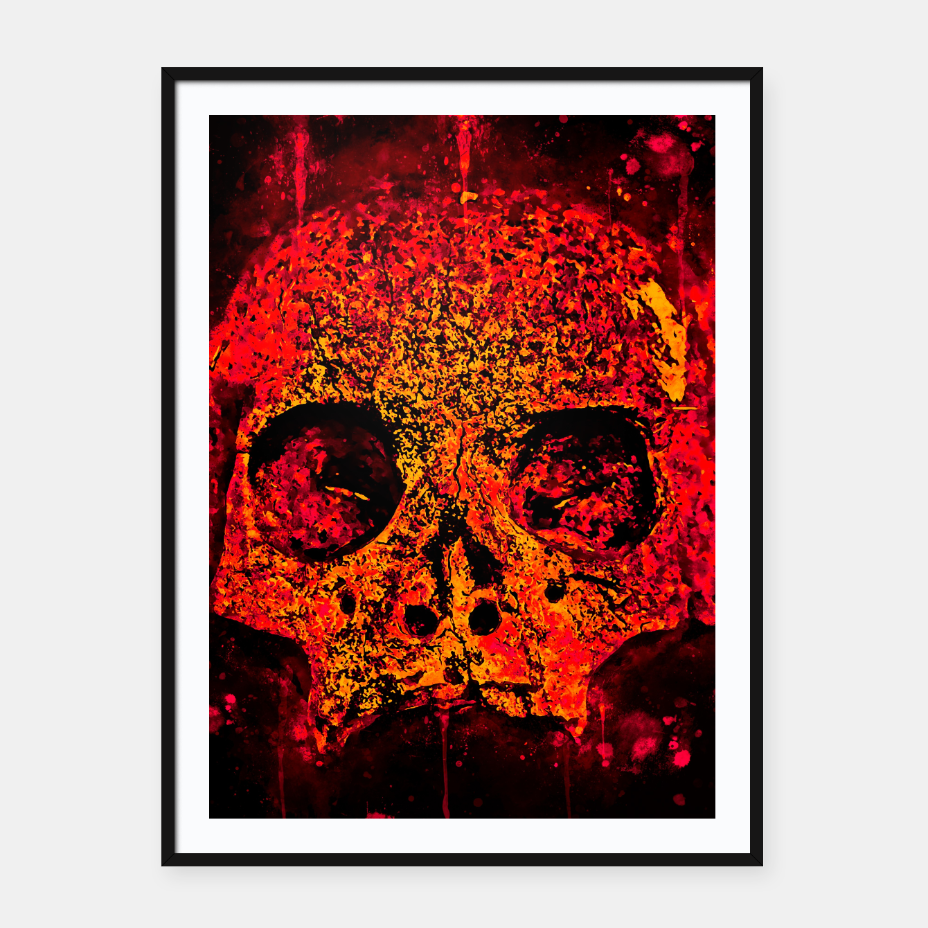 Image of gxp skull on gravestone splatter watercolor red edgy ember Framed poster - Live Heroes