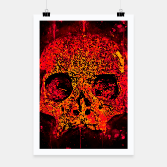 Thumbnail image of gxp skull on gravestone splatter watercolor red edgy ember Poster, Live Heroes