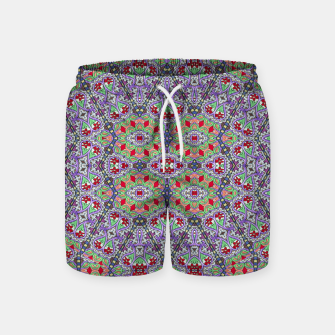 Miniatur Colorful Embroidery Folk Pattern Swim Shorts, Live Heroes