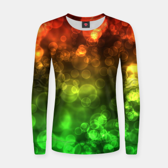 Thumbnail image of Red Green Bokeh Light Bubbles Women sweater, Live Heroes