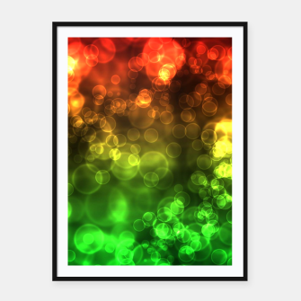 Thumbnail image of Red Green Bokeh Light Bubbles Framed poster, Live Heroes