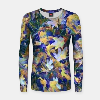 Miniatur Late Fall leaves In Blue Women sweater, Live Heroes