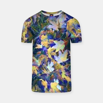 Miniatur Late Fall leaves In Blue T-shirt, Live Heroes