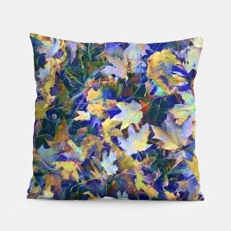 Miniatur Late Fall leaves In Blue Pillow, Live Heroes