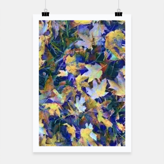 Miniatur Late Fall leaves In Blue Poster, Live Heroes