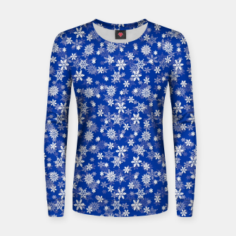 Miniatur Festive Princess Blue and White Christmas Holiday Snowflakes Women sweater, Live Heroes