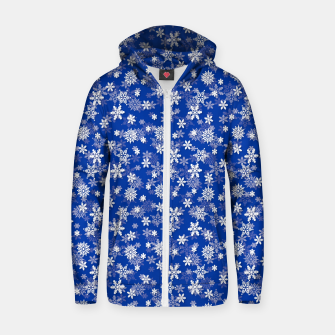 Miniatur Festive Princess Blue and White Christmas Holiday Snowflakes Zip up hoodie, Live Heroes