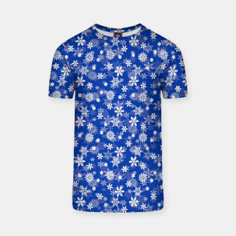 Miniatur Festive Princess Blue and White Christmas Holiday Snowflakes T-shirt, Live Heroes