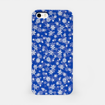 Miniatur Festive Princess Blue and White Christmas Holiday Snowflakes iPhone Case, Live Heroes