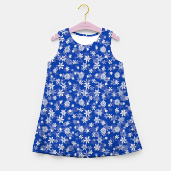 Miniatur Festive Princess Blue and White Christmas Holiday Snowflakes Girl's summer dress, Live Heroes