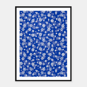 Imagen en miniatura de Festive Princess Blue and White Christmas Holiday Snowflakes Framed poster, Live Heroes