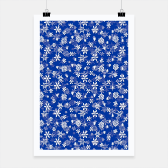 Miniatur Festive Princess Blue and White Christmas Holiday Snowflakes Poster, Live Heroes