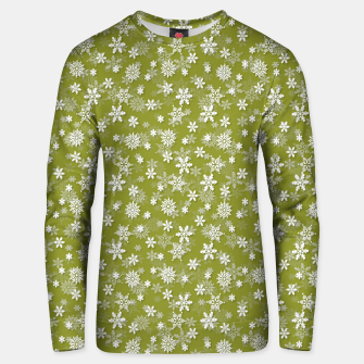 Miniatur Festive Pepper Stem Green and White Christmas Holiday Snowflakes Unisex sweater, Live Heroes