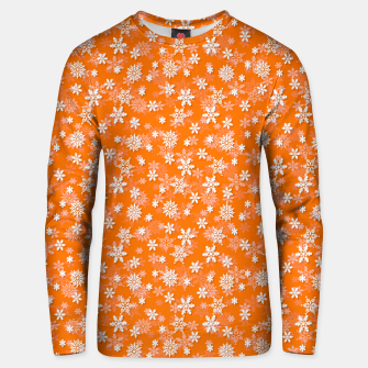 Miniatur Festive Turmeric Orange and White Christmas Holiday Snowflakes Unisex sweater, Live Heroes