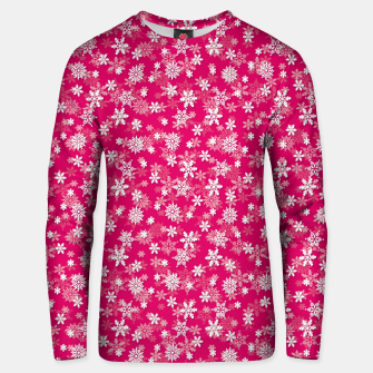 Miniatur Festive Peacock Pink and White Christmas Holiday Snowflakes Unisex sweater, Live Heroes