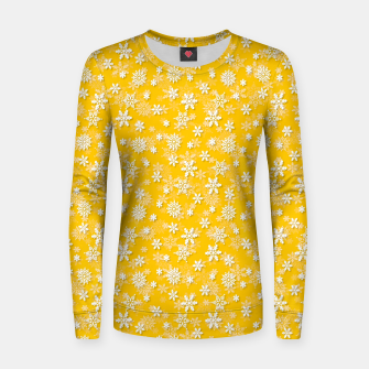 Miniatur Festive Yellow Aspen Gold and White Christmas Holiday Snowflakes Women sweater, Live Heroes