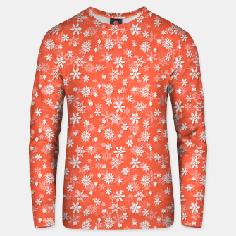 Miniatur Festive Living Coral Orange Pink and White Christmas Holiday Snowflakes Unisex sweater, Live Heroes
