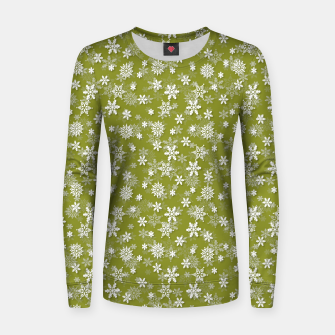 Miniatur Festive Pepper Stem Green and White Christmas Holiday Snowflakes Women sweater, Live Heroes
