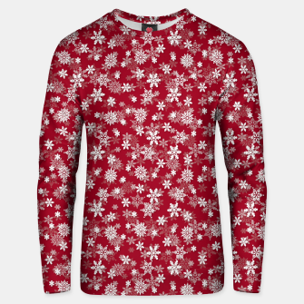 Miniatur Festive Jester Red and White Christmas Holiday Snowflakes Unisex sweater, Live Heroes