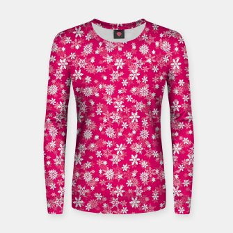Miniatur Festive Peacock Pink and White Christmas Holiday Snowflakes Women sweater, Live Heroes