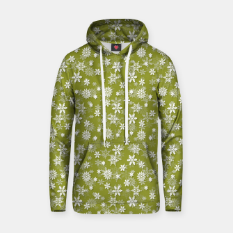 Miniatur Festive Pepper Stem Green and White Christmas Holiday Snowflakes Hoodie, Live Heroes