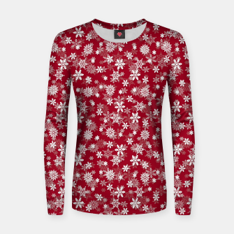 Miniatur Festive Jester Red and White Christmas Holiday Snowflakes Women sweater, Live Heroes