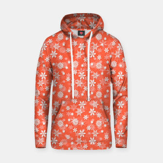 Miniatur Festive Living Coral Orange Pink and White Christmas Holiday Snowflakes Hoodie, Live Heroes