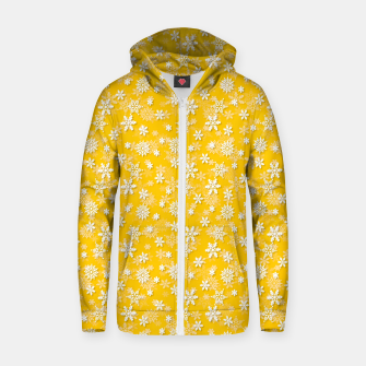 Miniatur Festive Yellow Aspen Gold and White Christmas Holiday Snowflakes Zip up hoodie, Live Heroes