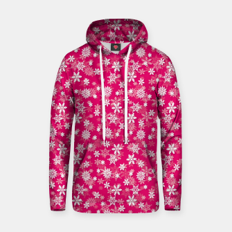 Miniatur Festive Peacock Pink and White Christmas Holiday Snowflakes Hoodie, Live Heroes
