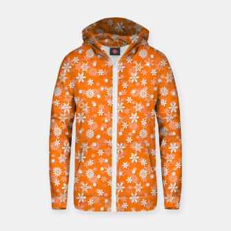 Miniatur Festive Turmeric Orange and White Christmas Holiday Snowflakes Zip up hoodie, Live Heroes