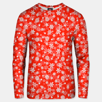 Miniatur Festive Fiesta Red and White Christmas Holiday Snowflakes Unisex sweater, Live Heroes
