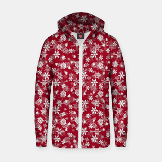 Miniatur Festive Jester Red and White Christmas Holiday Snowflakes Zip up hoodie, Live Heroes