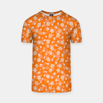 Miniatur Festive Turmeric Orange and White Christmas Holiday Snowflakes T-shirt, Live Heroes