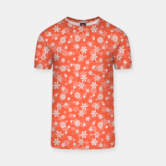 Miniatur Festive Living Coral Orange Pink and White Christmas Holiday Snowflakes T-shirt, Live Heroes