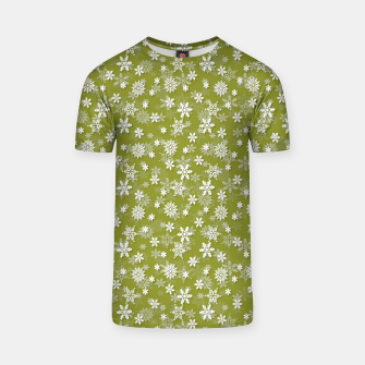 Miniatur Festive Pepper Stem Green and White Christmas Holiday Snowflakes T-shirt, Live Heroes