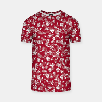 Miniatur Festive Jester Red and White Christmas Holiday Snowflakes T-shirt, Live Heroes