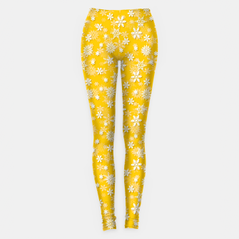 Miniatur Festive Yellow Aspen Gold and White Christmas Holiday Snowflakes Leggings, Live Heroes