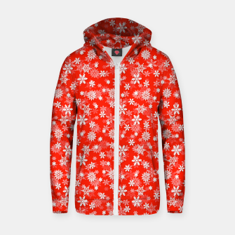 Miniatur Festive Fiesta Red and White Christmas Holiday Snowflakes Zip up hoodie, Live Heroes