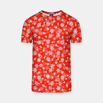 Miniatur Festive Fiesta Red and White Christmas Holiday Snowflakes T-shirt, Live Heroes