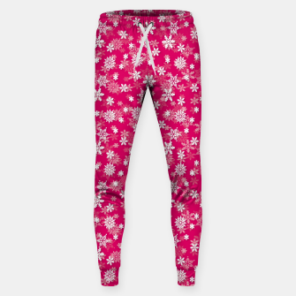 Miniatur Festive Peacock Pink and White Christmas Holiday Snowflakes Sweatpants, Live Heroes