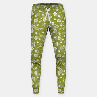 Miniatur Festive Pepper Stem Green and White Christmas Holiday Snowflakes Sweatpants, Live Heroes