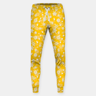 Miniatur Festive Yellow Aspen Gold and White Christmas Holiday Snowflakes Sweatpants, Live Heroes