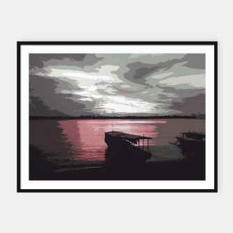 Thumbnail image of Pink Evening At The Beach Framed poster, Live Heroes