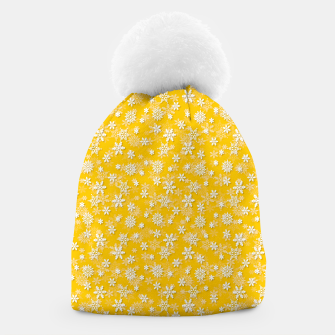 Miniatur Festive Yellow Aspen Gold and White Christmas Holiday Snowflakes Beanie, Live Heroes