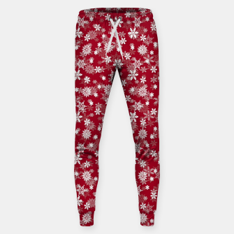 Miniatur Festive Jester Red and White Christmas Holiday Snowflakes Sweatpants, Live Heroes