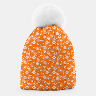 Miniatur Festive Turmeric Orange and White Christmas Holiday Snowflakes Beanie, Live Heroes