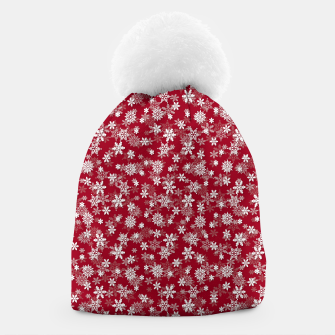Miniatur Festive Jester Red and White Christmas Holiday Snowflakes Beanie, Live Heroes